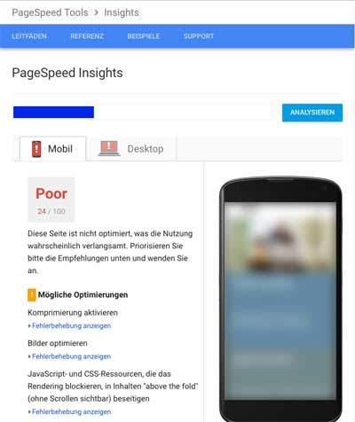 website pagespeed poor mobile
